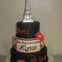 Paris Fondant covered red velvet and chocolate cake. Fondant flowers and letters. The Eiffel Tower is a candle.