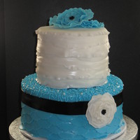 "Vintage Inspired 6"" chocolate cake with chocolate ganash filling. 9"" vanilla cake with vanilla buttercream filling. My SIL saw a cake by..."