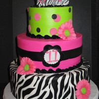 "Emma I did this for my niece's 11th birthday. She loved it. 12, 9, & 6"" tiers. Buttercream icing with fondant accents."