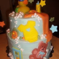 Rubber Ducky Baby Shower Two tiered cake with a Rubber Ducky Baby Shower theme. Iced in Buttercream with Fondant decorations