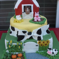 Farm 5Th Birthday Farm/ Pony party for my daughters 5th Birthday. The barn is RKT and the rest of the cake is MMF. I sculpted the animals and veggies out of...