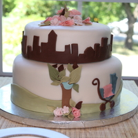City Baby Shower A baby in the city theme cake. It was made to match the invitations. This was my first Gluten-free cake for a friend. All MMF, except the...