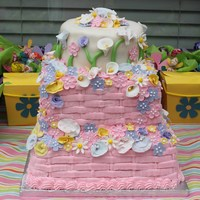 Flower First Birthday This was a cake for my daughter Lily's First Birthday. Obviously a flower theme for the party. Buttercream Dream icing and MMF for the...