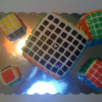 Rubik's Rubic's, V-Cube Birthday Cakes! I made these cakes for my 13 year old son who is an avid cube solver. He solves the 7x7x7 as well as the smaller cubes.