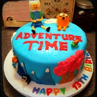 Adventure Time Finn & Jake, Ice King, Lumpy Space Princess I made this cake for my daughter's 13th birthday. Characters are sculpted from modeling chocolate. Cake is covered in MMF.