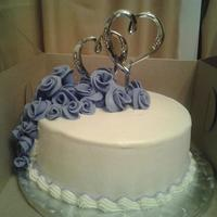 Purple Roses small wedding cake for older couple