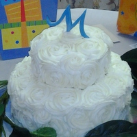 "Mini Wedding Cake For couple celebrating 40yrs ...they never had a wedding cake. 6"" and 9' in bc rossettes"