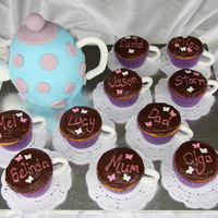 Teapot And Cup-Cakes the teapot is covered with fondant and the teacups are cupcakes on paper doillies with fondant handles. I used toothpicks to hold the...