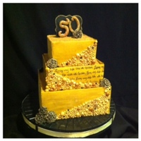 "50Th Birthday Cake ""Living My Life Like It's Golden"" Theme cake."