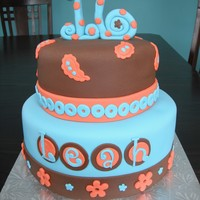 Funky Sweet 16 Sweet 16 cake in fun colours.
