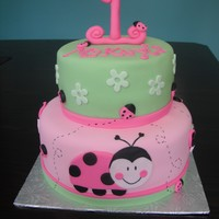 Ladybug Oh So Sweet 1st birthday cake inspired by the Ladybug Oh So Sweet party supplies. Bottom tier strawberries and cream, top tier vanilla cake/vanilla...