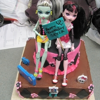 Monster High Chocolate cake with chocolate filling and pink lemonaid cake with pink lemonaid frosting. All made with love for my Granddaughter Skyla Who...
