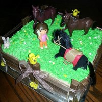Dora In The Pasture *Cake is marble with whipped cream frosting, kit kat fence, fondant bunnies and birds, plastic horses and dora.