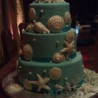 My First Wedding Cake  My sister wanted a beach wedding and this is what we came up with. Thank you for all of your ideas, inspiration, and help! This was my...