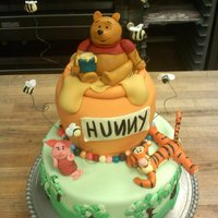Pooh Cake All edible, all fondant. chocolate chocolate cake for base and hunny pot is also chocolate cake with chocolate frosting.