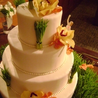 Nature Wedding Cake Bride wanted lots of natural elements on the cake, so I did fresh wheatgrass. Fun cake!