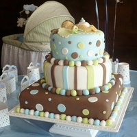 Baby Boy Fondant vainilla pund cake, all decorations are on fondant and hand molded