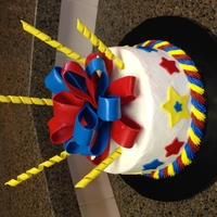 Ku Colored Birthday Cake Decorations were made of fondant in KU colors.