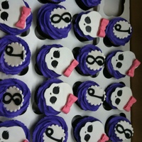 Monster High   Cupcakes for 8th birthday with Monster High theme. I did not even know what that was. ha! Skulls made with fondant covered in pearl dust.