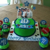 """one Direction"" Cake And Cupcakes  One Direction cake made for 11th birthday party. Birthday girl wanted green and blue colors. Everything is edible except for picture and..."