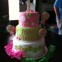 1St Birthday! This was a lollipop theme party. My first 3-tier cake! Also made a smash cake for the birthday girl.