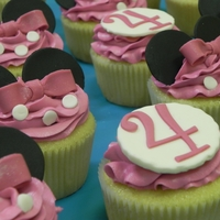 Minnie Mouse Cupcakes   Minnie mouse cupcakes to compliment Minnie Mouse Head cake for a 4 yr old. All fondant details