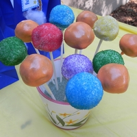 Rainbow Cake Pops   Rainbow cake pops I made to go along w/my daughter 2-tier topsy turvy Care Bears cake.