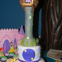 Rapunzel Tower bottom tier was vanilla cake w/dulce de leche filling and top was chocolate cake w/chocolate cream cheese filling. All covered in white...