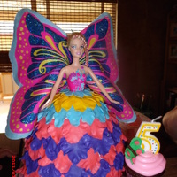 Maraposa Barbie This was for a 5 yrs old little girl, she was very specific about her cake. She pick the dress from another cake she saw on CC. I used the...