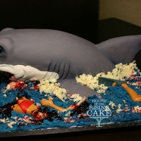 Shark Cake!  I did this cake for my friend, Dawn Smith's, 40th birthday. She loves sharks and had jokingly asked me to make her one many times....