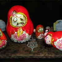 Zombie Matryoshka Doll Cake The 1st 2 dolls (on the left) are cake (chocolate and chocolate BC). The other 2 dolls are rice krispies and the duck is gumpaste. All hand...