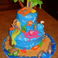 Ocean Theme Birthday Cake I made this cake for my little girls birthday. It was only the second cake I've made with fondant figures. I purposely made the...
