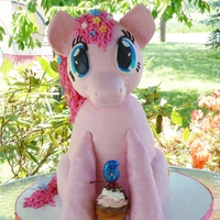 "Pinkie Pie - My Little Pony Friendship Is Magic  3D Pinkie Pie from My Little Pony - Friendship is Magic. Head and front legs are Rice Krispy Treats. I used two 10"" rounds, one 8&quot..."