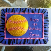 Softball Purple and Pink Softball cake. (My camera really didn't capture it's true colors) I made this for a friends daughter after she...