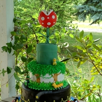 Super Mario Bros. Cake Mario themed cake made for my daughters 8th birthday. Lakitu hovers over a Pariah Plant coming out of a pipe. The next tier represents the...