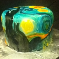 Starry Night I love Van Gogh's Starry Night, so I painted my variation onto a small fondant cake. It was so fun!