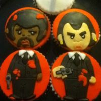 Pulp Fiction Cupcakes These were copied from a great design I found online for my husband's birthday. Fondant.