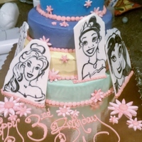 Princess Plaques Buttercream colored layers and hand painted white chocolate panels for the Birthday Girl to keep