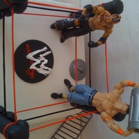 Wwe Wrestling Cake cake is white with vanilla buttercream, covered and decorated in fondant. WWE logo is royal icing. Poles are cake supports covered in...