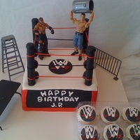 Wwe Wrestling  White cake with buttercream covered and decorated in fondant with cake supports covered in fondant for the poles and sating string for the...