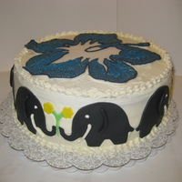 Birthday Cake For My Close Gf She Loves Elephants And The Top Is A Larger Version Of Her Tatoo Birthday cake for my close gf, she loves elephants and the top is a larger version of her tatoo.