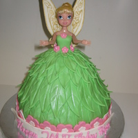 Tinkerbell Doll Cake Thinkerbell doll cake, wings are made out of gum paste, scrolls are done using royal icing and then painted with edible gold paint and golf...