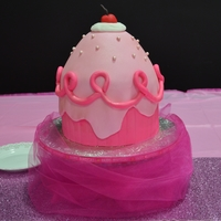 Pinkalicious Giant Cupcake Cake Marble Cake (WASC) with vanilla buttercream covered in Fondant. The cake was made with a 8x3 round cake pan and, the wonder mold. Since the...