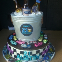 Race Car And Beer Bottles  Twenty-first birthday for a young man who's hobby is Race Car driving. Everything is edible with the exception of the cake board. The...