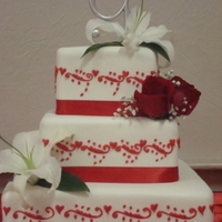 Red & White Wedding Cake