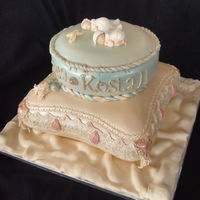 Vintage Pillow Baptism Cake For Twin