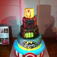 Super Hero Cake I made this cake for a benefit evening for a little boy fighting till the end with a rare Cancer. Shawn you are my hero! xox
