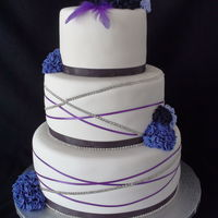 Purple Diamond Feather Wedding Cake