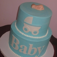 Blue Baby Shower Buttercream cake with fondant accents and baby