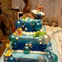 Baby Shower Jungle Bubble Bath Theme I made this cake for my brothers baby shower. They wanted a jungle/bubble bath theme and that is exactly what they got! = ) Three tier, all...